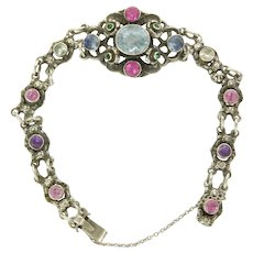 Arts And Crafts Silver Aquamarine  and Topaz Bracelet - ZW -England