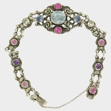 ZOLTAN WHITE - Arts And Crafts Silver Aquamarine  and Topaz Bracelet