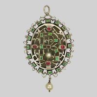 Victorian Silver Emerald and Spinel Locket -  Antique Copy of  17th Century Jewel