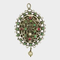 Victorian Silver Emerald and Spinel Locket -  Copy of  Lyte Jewel