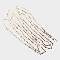 Victorian Gilt Metal Elongated Links Guard Chain - PIONEER - 54""