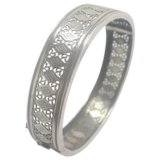 European Antique Silver Pierced Bangle
