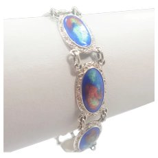 English Art Deco Silver Mottled Enamel Bracelet