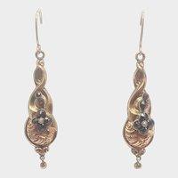 Victorian 9K Gold and Garnets Drop Earrings - Pierced Ears