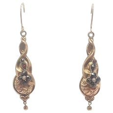 Victorian 9K Gold and Garnets Drop Earrings - Pierced Ears