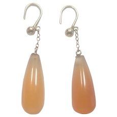 Victorian 9K Gold Coral Glass Drop Earrings