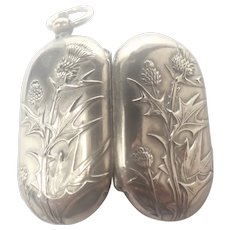 French Art Nouveau Silver Plated Thistle Coin Holder