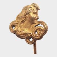 French Art Nouveau Gold Filled Lady Stick Pin - TITRE FIXE