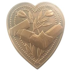 French Brittany Bronze Heart Shaped Medal - G Simon