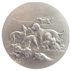 French Antique Silvered Bronze Dogs Medal -  Erdmann and Rivet