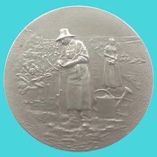 French Circa 1900 Sterling Gardening Medal - A  RIVET