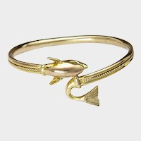 Sterling Silver Gilt Fish Bangle