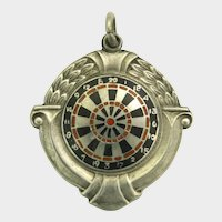 English Sterling Silver Enamel Darts Medal/Pendant 1949