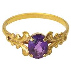 Silver Gilt Amethyst Art Nouveau Style Ring
