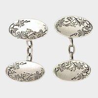 JA&S 1910 Sterling Silver Vine Engraved Cufflinks