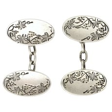 JA&S 1910 Sterling Silver Vine Engraved Cufflinks