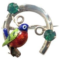 Sterling Silver Horseshoe Enamel Bird Pin - WARD BROS