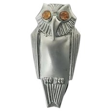 Art Deco Chrome Owl Dress Clip