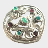 Arts and Crafts Silver Metal Gemstones Brooch