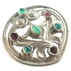 Arts and Crafts Silver Metal Gemstones Brooch