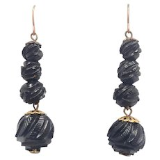 Victorian Carved Whitby Jet Drop Earrings