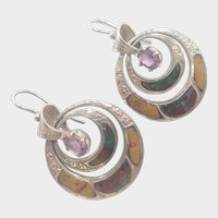Victorian Scottish Agate and Amethyst Earrings