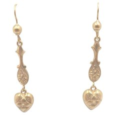 Victorian 9K Gold Heart Drop Earrings