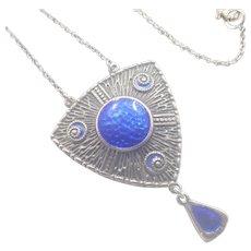Arts and Crafts 1910 Charles Horner  Silver Enamel Drop Necklace