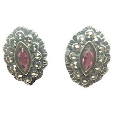 French Art Deco 800 Silver Marcasites and Ruby Paste Earrings