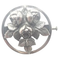 French Circa 1930 Silver Roses Pin - R SITOLEUX