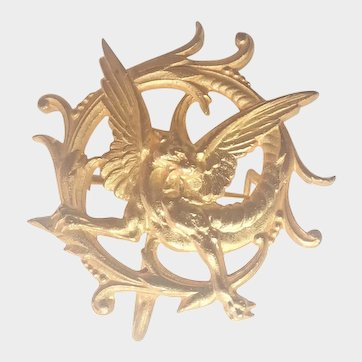 French Art Nouveau 18K Gold Plated Griffin Watch Pin