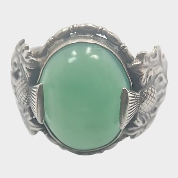Art Deco Chrysoprase Agate and Silver Scottish Thistle  Ring