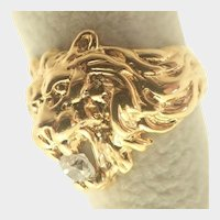 French Silver Gilt Lion Ring - Unisex