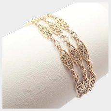 French 14K Gold Pierced Bracelet