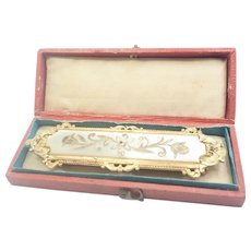 Victorian Boxed Sash Buckle Mother of Pearl on Gilt Brass