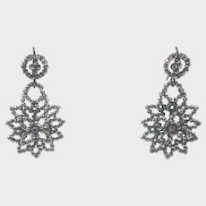 Victorian Cut Steel Drop Earrings -Floral Shape