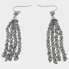 Victorian Cut Steel Tassel Earrings