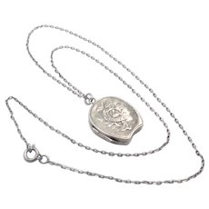 Victorian 1894 Silver Horseshoe Locket  and Chain