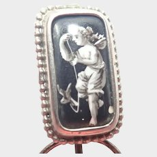 French Georgian Ceramic Cherub  Stick Pin
