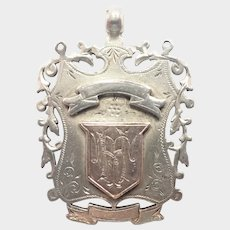 Victorian 1893 Sterling and 9K Gold Medal Pendant