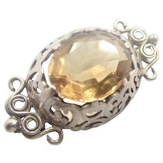 Victorian Scottish Sterling Citrine Plaid/Shawl Pin