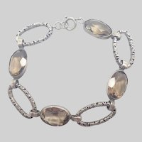 Victorian Scottish Smoky Quartz Stones on Sterling Bracelet