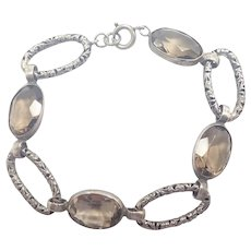 Victorian Scottish Smoky Quartz Stones on Sterling Bracelet