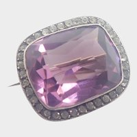Antique French Amethyst Paste Silver Pin