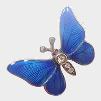 Antique 935 Silver Enamel Butterfly Brooch - Meyle and Mayer - Germany
