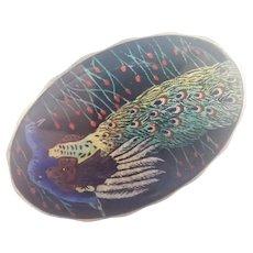 MARIUS HAMMER Norway Antique 930 Silver Enamel  Peacock Pin