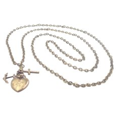 French Antique Gold Plated Chain with Art Nouveau Gold Filled Charms