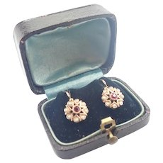 French Antique 'FIX' Gold Filled Tourmaline Pearl Earrings - Boxed