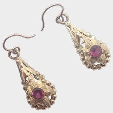 French Antique Gold Filled Paste Earrings - Pierced Ears