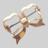 English Edwardian 15K Gold Bow Watch Pin